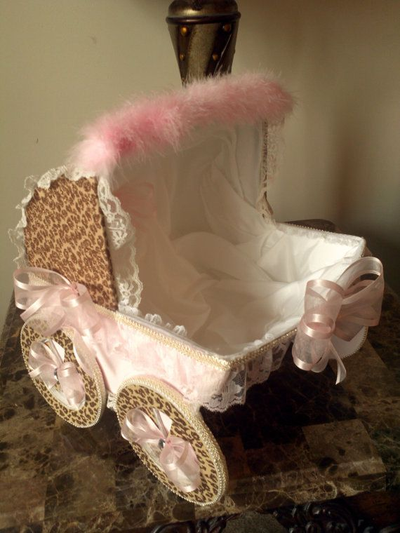 Brown And Pink Cheetah Carriage / Baby Shower Centerpiece on Etsy, $39.00