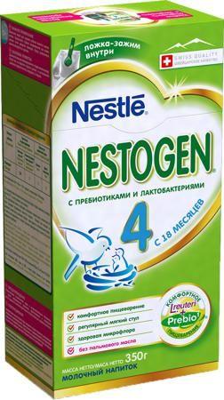 Nestogen (Nestlé) 4 (с 18 месяцев) 350 г  — 267р. -------------- Молочный напиток Nestogen 4 с 18 мес. 350 г. Молочко Nestogen 4 для комфортного пищеварения. Пищевые волокна Prebio (пребиотики ГОС/ФОС), входящие в состав молочка, помогают пищеварению и способствуют формированию регулярного мягкого стула. Молочко Nestogen 4 содержит лактобактерии L.reuteri, которые помогают наладить комфортное пищеварение и способствуют становлению здоровой микрофлоры. Молочко Nestogen 4 - сбалансированный…