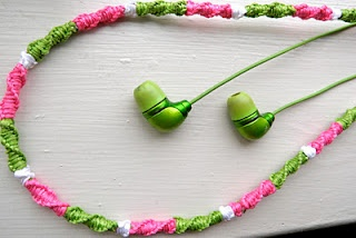 Hairwrap - type headphones using ribbon or embroidery floss...
