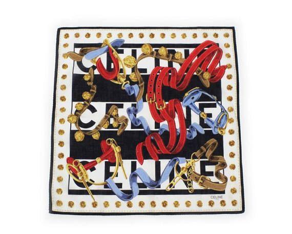 Celine Paris Vintage 1980s 1990s Cotton Scarf Handkerchief Red
