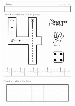 Preschool, Kindergarten, Back to School No Prep Worksheets and Activities. A page from the unit: learning to write and represent numbers (1-10)