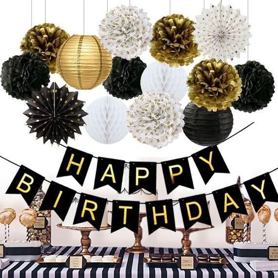 Birthday Decorations Black Happy Birthday Banner Paper Flowers Tissue Paper Pom Poms Paper Lanterns