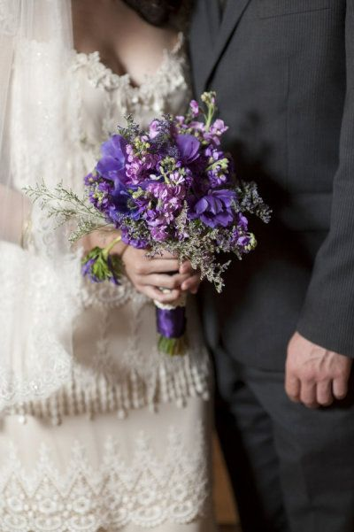 Purple wild flowers bouquet