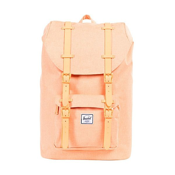 Herschel Supply Co. Little America Mid-Volume Laptop Backpack ($72) ❤ liked on Polyvore featuring bags, backpacks, accessories, orange, laptop backpacks, padded laptop backpack, backpacks bags, red backpack and herschel supply co.