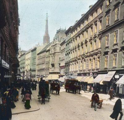 Die Kärntnerstraße. Wien I. Handkoloriertes Glasdiapositiv. Um 1900.