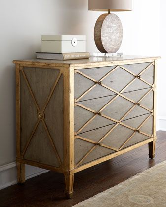 """CRAAAZY expensive, but I love that it mixes glam with rustic. Great piece for den if lottery is won. $1759 """"Melody"""" Chest at Horchow."""