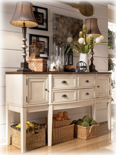 Gorgeous Farmhouse Buffet. Get this look for your next painted furniture project with an old buffet and some Vintage White Chalk +Clay Paint and Hickory or Kukui Stain & Finish by CeCe Caldwell's Paints Products from VintageBette.com.