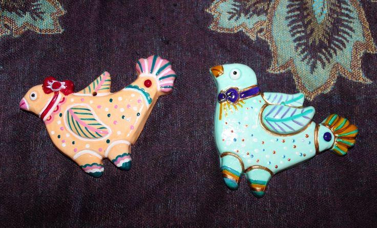 """Керамические елочные игрушки """"Пташки"""" сделаны и расписаны вручную. Цена за штуку 420 рублей"""