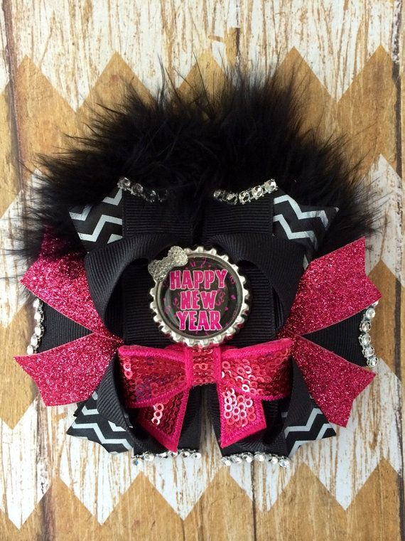 Happy New Year hair bow new years hair bow by TheJMarieBoutique