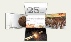 Originele jubileumuitnodiging van locomix. Uitnodigingen, directmailings, direct mail, jubileum, 25 jarig bestaan, leuke kaart http://www.locomix.nl/bedrijven/direct-mail/5-card/