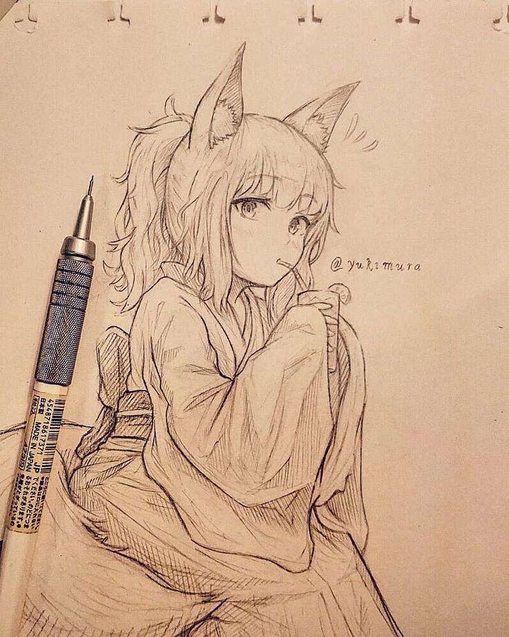 Anime Cat Sketch : anime, sketch, Dekor, Anime, Drawings, Sketches,, Sketch,