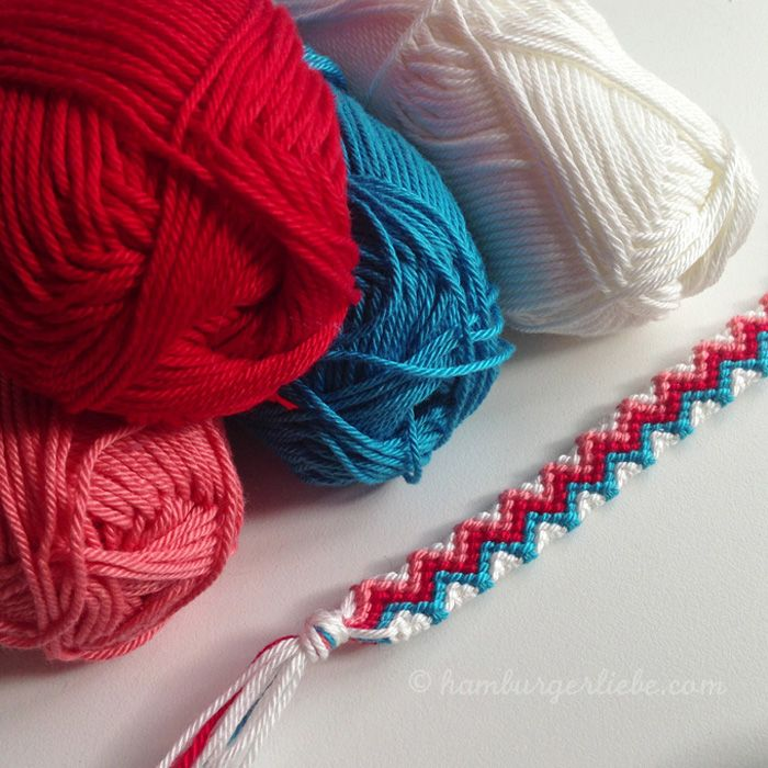 Weave your own friendship bracelet from embroidery thread with Hamburger Liebe
