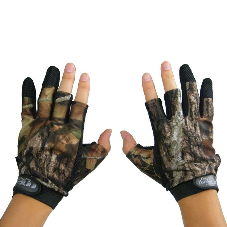NEW Camo Hunting Gloves Anti-Slip 3 Finger Cut Fishing Gloves Protector Camouflage for Kite Hunting Free Shipping