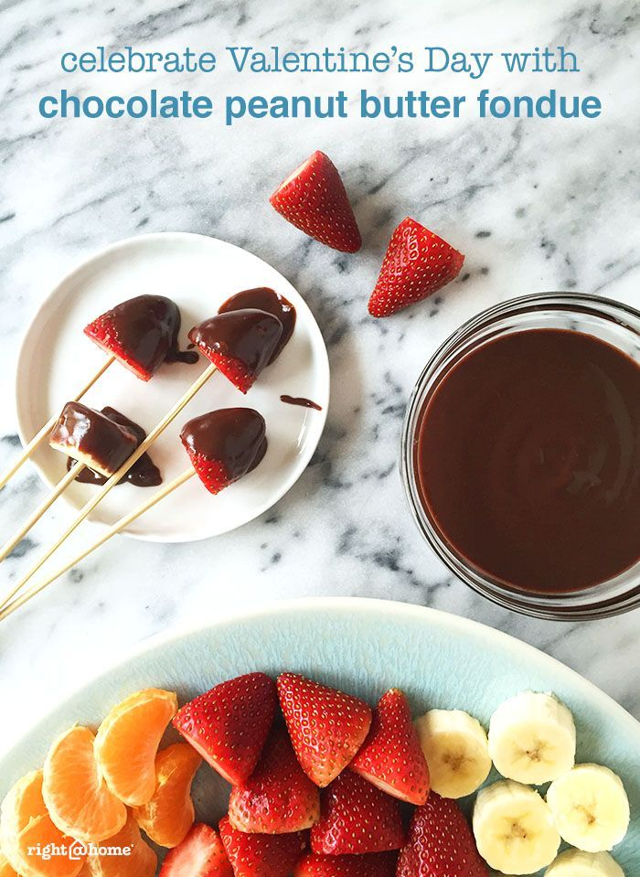 This chocolate peanut butter fondue is perfect for date night at home ...
