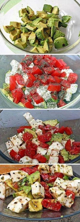 Fresh Avocado, Tomato and Mozzarella Salad