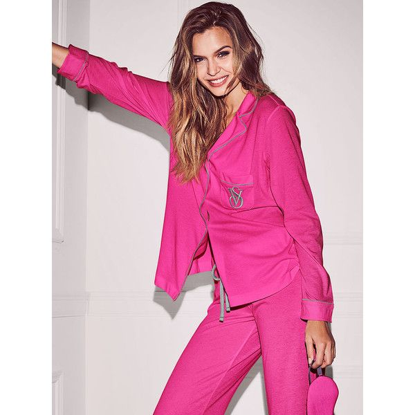 Victoria's Secret The Sleepover Knit Pajama ($55) ❤ liked on Polyvore featuring intimates, sleepwear, pajamas, red, red pjs, striped jersey, striped pajamas, striped pyjamas and petite sleepwear