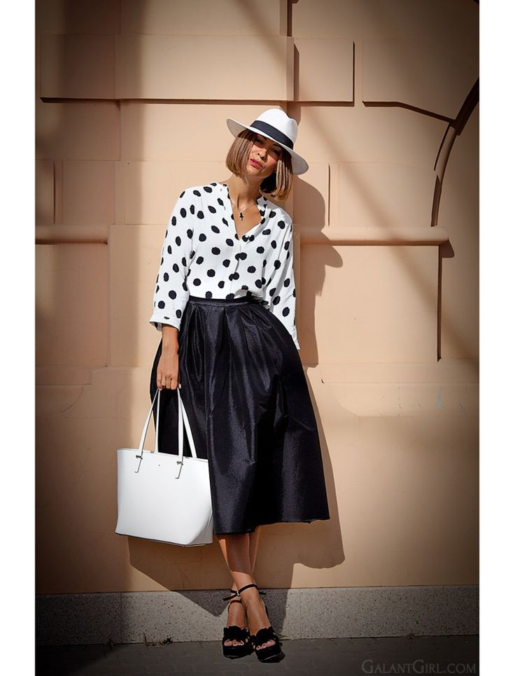 polka dot outfit with midi skirt and Fedora hat by GalantGirl.com