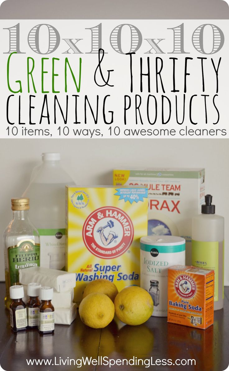 This is so cool! Just 10 different household items mixed 10 different ways can make 10 awesome green cleaners for everything in your house! (Post includes a super cute free printable with all 10 homemade cleaner recipes!) #springcleaning #natural #cleaners