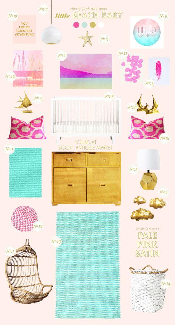 Beach baby nursery inspiration on Lay Baby Lay with the Sparrow crib in white #crib #nursery #oeufnyc