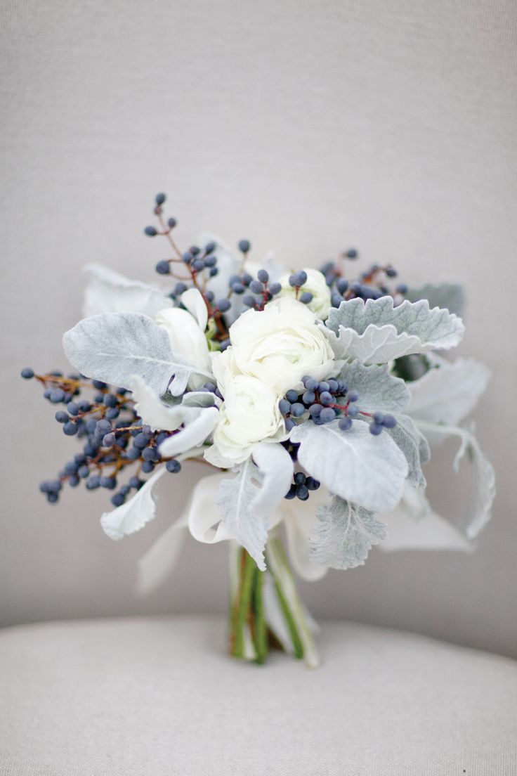 White, gray and blue bouquet by Stems & Styles, image by Sleepy Fox Photography. #wedding www.weddingsunveiledmagazine.com