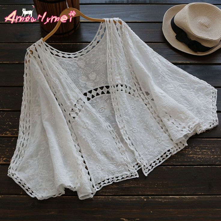 >> Click to Buy << Amourlymei 2017 Mori Girl Summer New Women V-neck Casual Loose Bat Sleeve Hollow Out Embroidery Lace Kimono Cardigan Blouse Tops #Affiliate