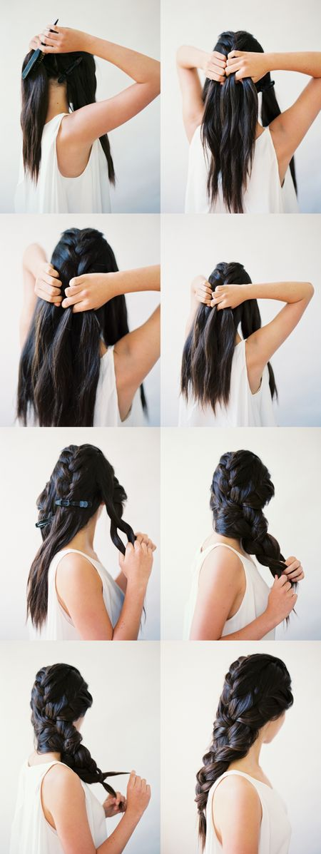 Beautiful interwoven 3 strand braid tutorial #oncewed #howto #hairstyle #hairdo #brunette