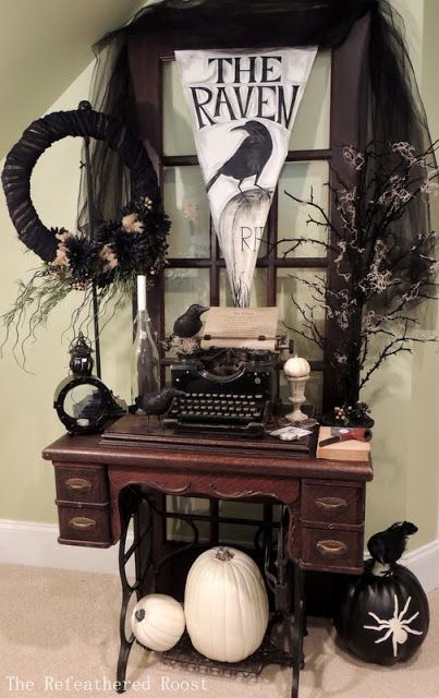 The Raven   If you have an old sewing machine, this a clever way to use it in your Halloween decor.