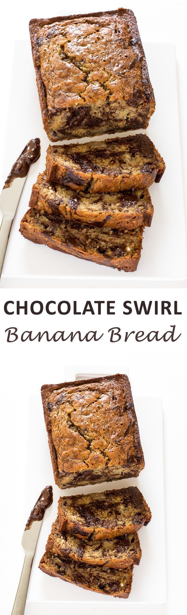 Marbled Chocolate Banana Bread. Super moist banana bread swirled with chocolate, yum!