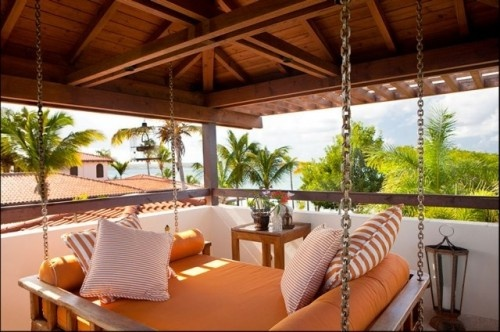 Love the porch swingOutdoor Beds, Hanging Beds,  Eating Places,  Eating House'S,  Eatery, Beds Design, Porches Swings, Tropical Patios, Swings Beds