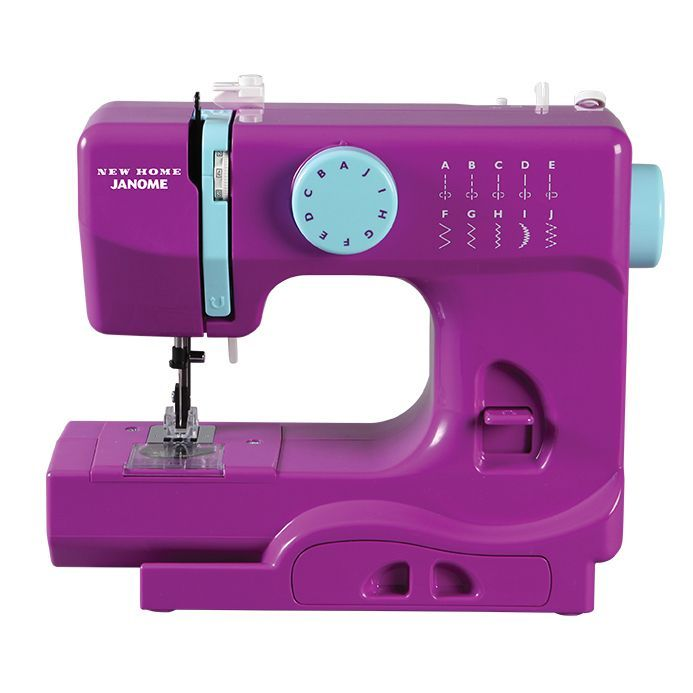Janome Purple Thunder Basic, Easy-to-Use, 10-stitch Portable, 5 lb Compact Sewing Machine with Free Arm (Purple) (Aluminum)