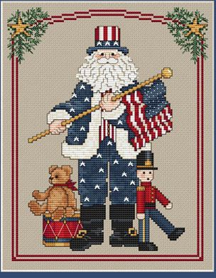Patriotic Santa - Cross Stitch Pattern