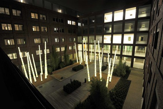 Maasstad Hospital:  Uses lighting in different courtyards to help with orientation.  And it looks super cool.  Designed by Stijlgroep Landscape and urban design (www.stijlgroep.nl/)