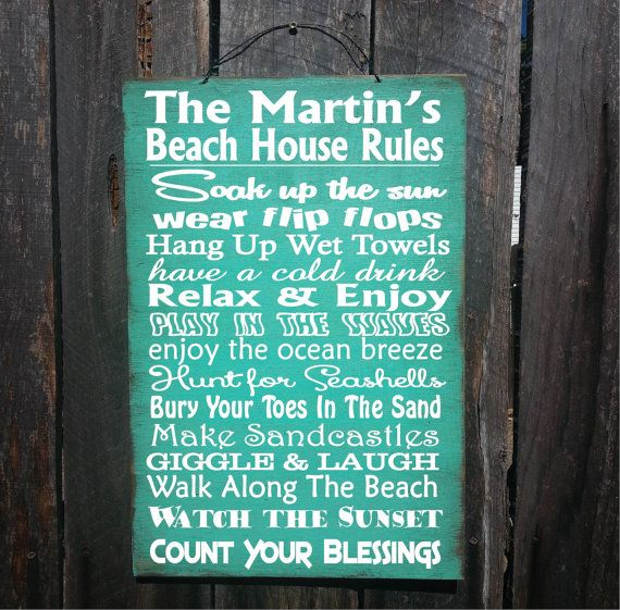 beach decor beach house decor beach rules by FarmhouseChicSigns