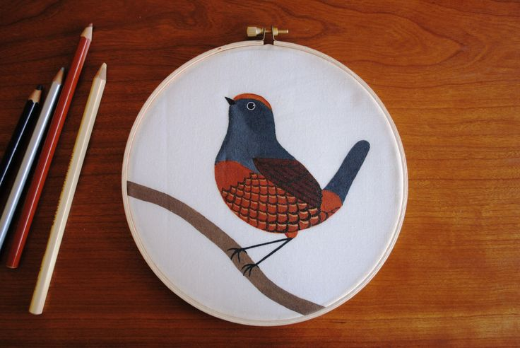 Black-throated Huet-huet hand painted wall decor by SeresDelSur on Etsy
