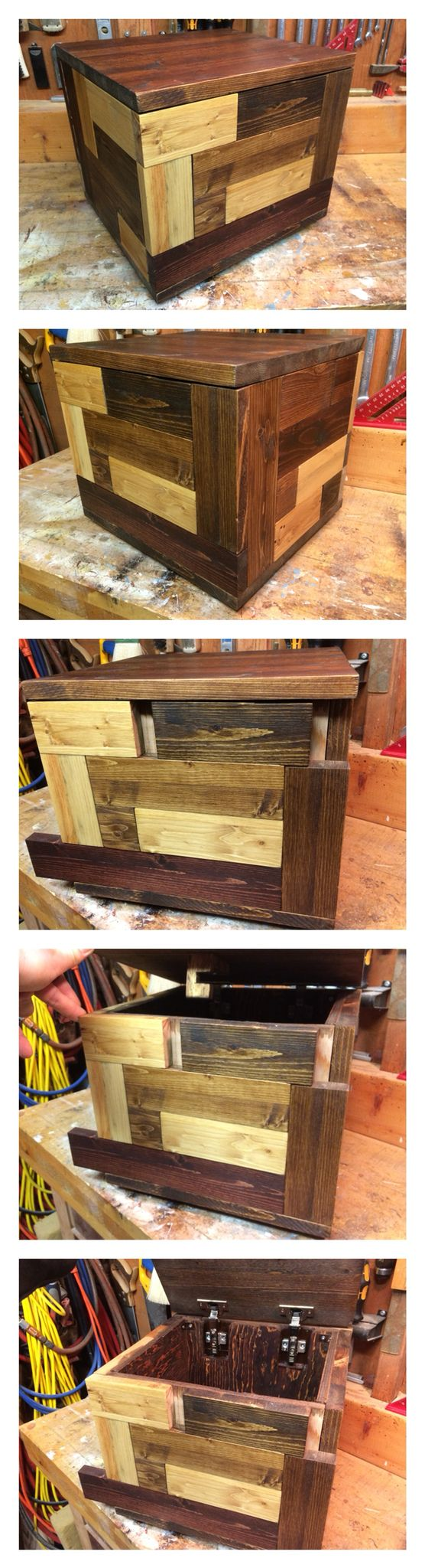 Wooden puzzle box I made over the Christmas holidays from reused wood pieces and cabinet hinges. Lock mechanism and joints are all 100% wood.