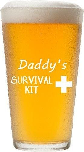 Daddy's Survival Kit - Funny 16 oz Pint Glass Permanently Etched Gift for Dad Co-Worker Friend Boss Christmas New Dad Gift First Father's Day - PG14