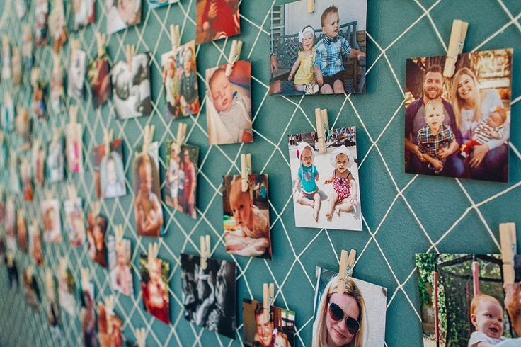 hang pictures on fish net for little mermaid party - super cute!
