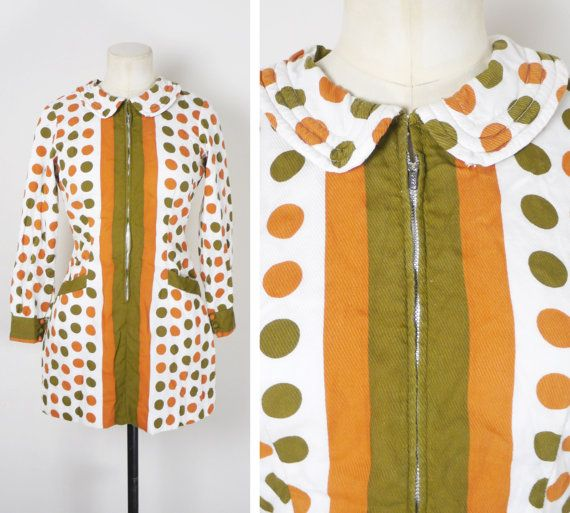 60s 70s POLKA DOT mini dress with peter pan collar and ZIP up front - spotty geometric gogo mod op art scooter girl - uk6-8 xs