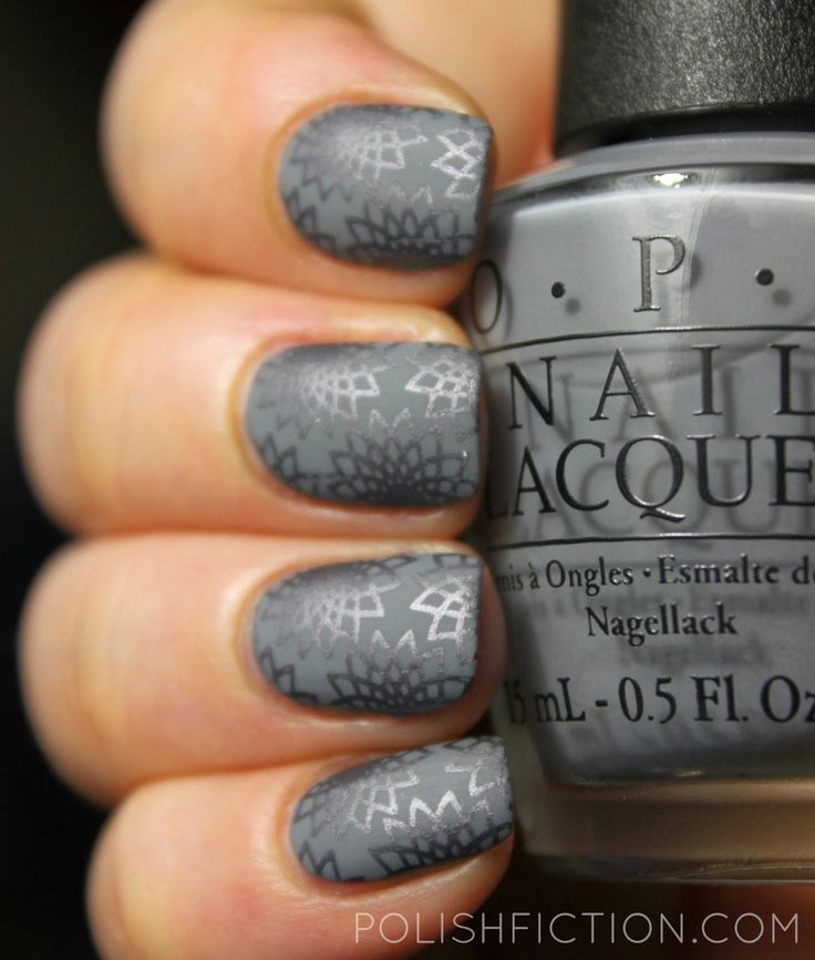 OPI Embrace the Gray with some stamping nail art