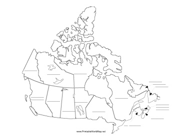 This printable map of Canada has blank lines on which students can fill in the names of each Canadian territory and province. It is oriented horizontally. Free to download and print