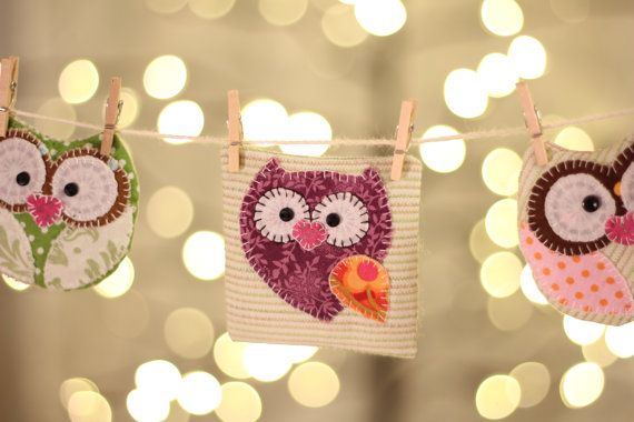 Happy Owl Banner! Perfect to decorate your home, nursery!