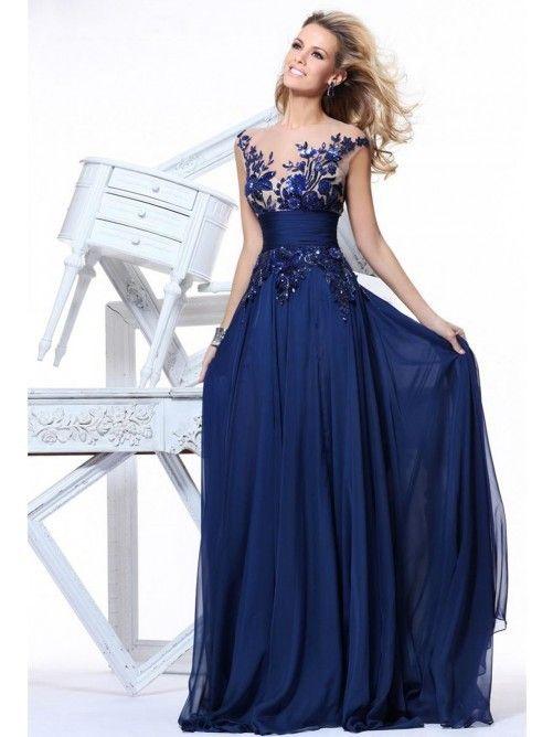 A-Line/Princess Sleeveless Floor-Length Ruffles Chiffon Evening Dresses