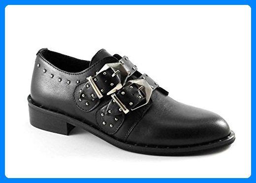 DIVINE FOLLIE 2C schwarze Schuhe Frau Leder Brogues Schnallen Bolzen 40 - Schnürhalbschuhe für frauen (*Partner-Link)