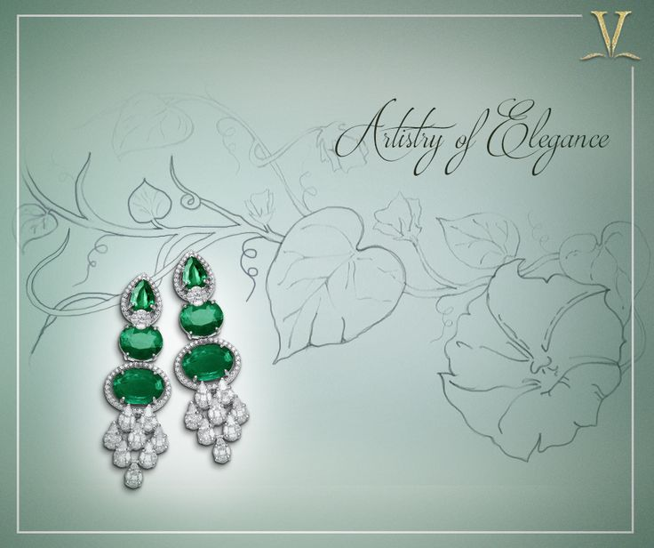 Crafted together a diamond at a time, the graceful emerald danglers designed distinctly for you. #ArtistryOfElegance