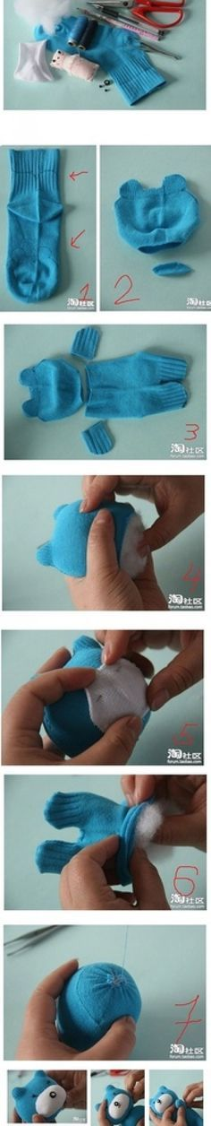 Stuffed Sock Bear Toys DIY Craft Project - I guess I could modify this for my knee sock.
