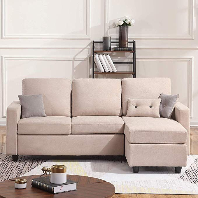 Amazon Com Honbay Convertible Sectional Sofa Couch L Shaped Couch With Modern Linen Fabric For Small Sectional Sofa Beige Sectional Sofa Couch Sectional Sofa