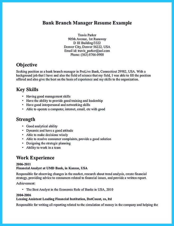 resume for banks