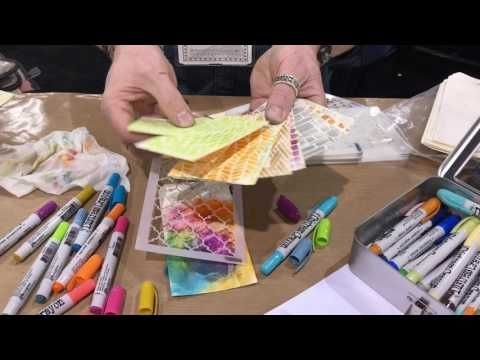 Tim Holtz demos Distress Crayons over Gesso with Stencils - Creativation - CHA 2017 - YouTube