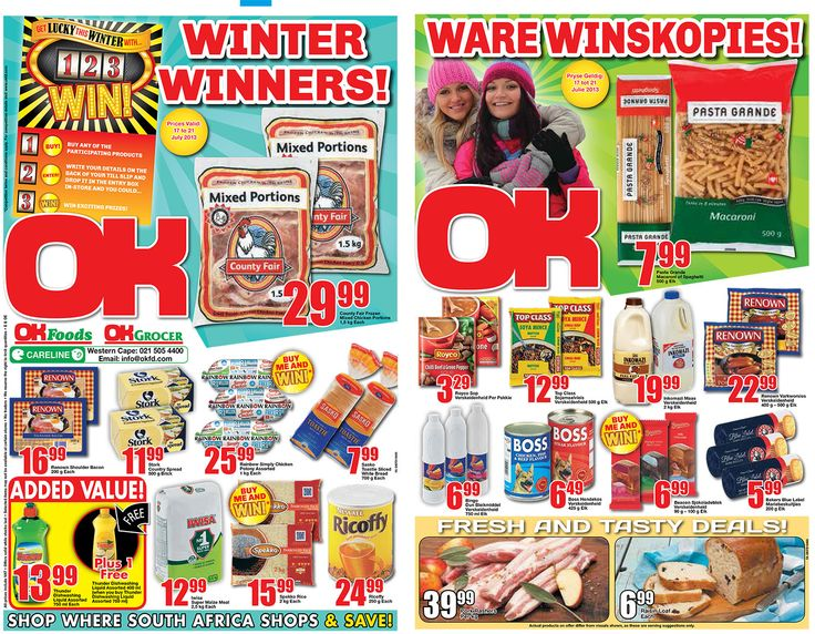 OK Grocer Danabaai's amazingly low prices, valid from 17 July 2013 to 21 July 2013
