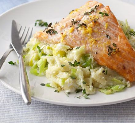 salmon with leeks and parsnips